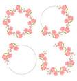 pink magnolia flower bloom wreath frame flat vector image vector image