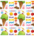 seamless pattern tile cartoon with desserts vector image