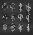 set chalk trees on chalkboard vector image vector image