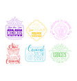 set of emblems for circus and mardi gras vector image vector image
