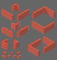 set of isometric masonry items vector image vector image