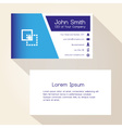 simple blue and white business card design eps10 vector image vector image