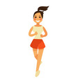 smiling young female person in shorts runs in vector image vector image