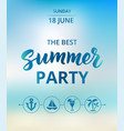Summer party text typography with brush lettering
