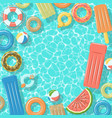 swimming pool with rafts rubber rings top view vector image