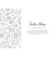tailor shop banner template with hand drawn sewing vector image vector image