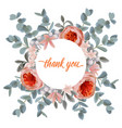 thank you card with eucalyptus flowers and pink vector image