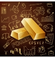 two gold nuggets and exchange doodle icon vector image vector image