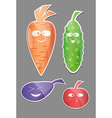 Vegetable icon set Labels with Vegetables Carrot vector image vector image