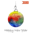 Watercolor christmas bauble with hand-drawn vector image vector image