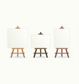 wooden easel and blank canvas graphic vector image