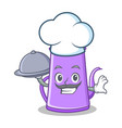 chef with food purple teapot character cartoon vector image