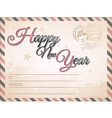 Vintage Happy New year postcard vector image