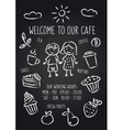 Welcome to our cafe chalkboard poster vector image