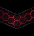 abstract red and black background with hexagons vector image vector image