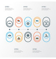 automobile icons colored line set with wheel vector image