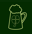 beer mug with a leaf of clover stpatrick s day vector image vector image