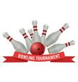 bowling tournament logo design of strike made vector image
