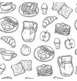breakfast doodle pattern pancakes jam cheese vector image