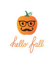 card with a cartoon pumpkin vector image vector image
