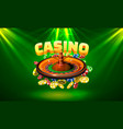 casino roulette big win coins on green vector image vector image