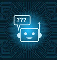 chat bot face icon with question mark robot over vector image