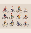 collection of people riding bicycles of various vector image vector image
