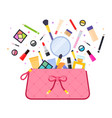 cosmetics flying out bag icon flat isolated vector image
