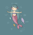 Cute cartoon little mermaid siren sea theme
