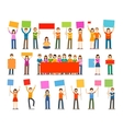 Demonstration or procession parade icons People vector image vector image