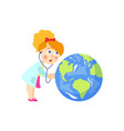 doctor girl listens to earth planet lungs vector image vector image