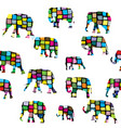 elephants seamless in colorful geometrical pattern vector image vector image