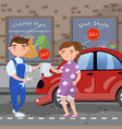 female driver giving documet to auto mechanic vector image vector image