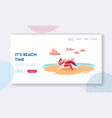 girl character relax on seaside landing page vector image