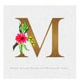 golden letter m watercolor floral background vector image