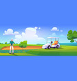 golfer playing golf on green field hitting ball vector image
