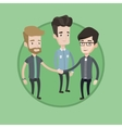Group of businessmen joining hands vector image vector image