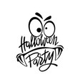 halloween night party monster hand lettering vector image vector image