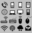 Icon set of mobile devices computer and network vector image vector image