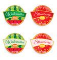 label of fruit watermelon and strawberry in vector image vector image