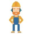 Man wearing hard hat and headphones vector image