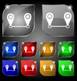 Map pointer icon sign Set of ten colorful buttons vector image vector image