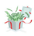 money coming out of the gift box vector image vector image