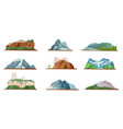 mountain icons set various types pile hills vector image