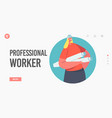 professional worker landing page template female vector image