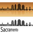 Sacramento V2 skyline in orange vector image vector image