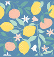 seamless pattern with citrus fruits flowers vector image vector image