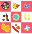 Set of picnic icons and barbeque outdoor family vector image