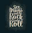 sex and rock and roll lettering with rays vector image vector image
