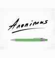 signature anonimus icon vector image vector image